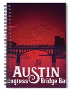 Austin Congress Bridge Bats In Red Silhouette Spiral Notebook
