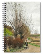 Autumn Weather. A Man With A Wheelbarrow On A Path Spiral Notebook