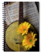 Banjo And Two Sunflowers Spiral Notebook