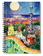 Barcelona By Moonlight Watercolor Painting By Mona Edulesco Spiral Notebook