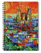 Barcelona Orange View - Sagrada Familia View From Park Guell - Abstract Palette Knife Oil Painting Spiral Notebook