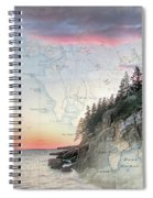 Bass Harbor Lighthouse On A Chart Spiral Notebook
