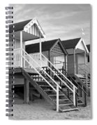 Beach Huts Sunset In Black And White Spiral Notebook