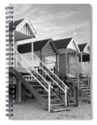 Beach Huts Sunset In Black And White Square Spiral Notebook