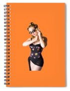Beautiful 1950s Pinup Woman Listening To Sea Shell Spiral Notebook