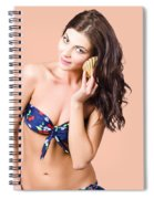 Beautiful Beach Babe Over Studio Background Spiral Notebook