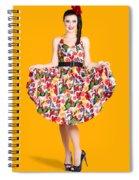 Beautiful Dancing Woman In Retro Red Dress Spiral Notebook
