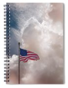 Beautifully Waves - U S Flag And Clouds Spiral Notebook