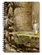 beer bottle left in old lane in Edinburgh Spiral Notebook
