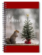 Believe Christmas Tree Squirrel Square Spiral Notebook