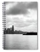Black And White Panorama Of Seattle Skyline Reflected On The Bay Spiral Notebook