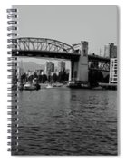 black and white panorama of Vancouver from plaza of nations showing the beautiful city Spiral Notebook