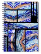 Blue Agate Mosaic Watercolor Collage Spiral Notebook