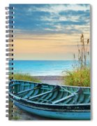 Blue Boat At Dawn Spiral Notebook