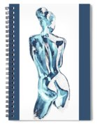 Blue Nude Woman Model Gesture Watercolor Xxxviii Spiral Notebook