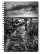 Boardwalk To The Sea In Radiant Black And White Spiral Notebook
