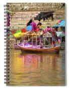 Boat And Bank Of The Narmada River, India Spiral Notebook