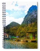 Boat People Homes On Gulf Of Tonkin Ha Long Bay Vietnam Spiral Notebook