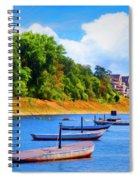 Boats At The Ferry Crossing Painting Spiral Notebook