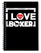 Boxer Dog Design I Love My Boxer Frame Dots Chunky Font Spiral Notebook