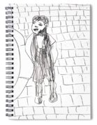 Boy On The Street Pencil Drawing Spiral Notebook