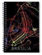 Brasilia Brazil City Street Map Watercolor Dark Mode Spiral Notebook