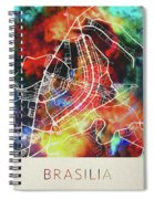 Brasilia Brazil Watercolor City Street Map Spiral Notebook