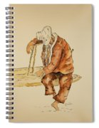 Brazil Watercolor Man On Bench Spiral Notebook