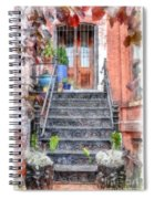 Brick Townhouse Walkup Watercolor Spiral Notebook