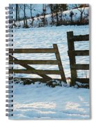 Broken Fence In The Snow At Sunset Spiral Notebook