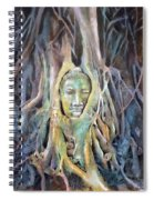 Buddha Head In Tree Roots Spiral Notebook