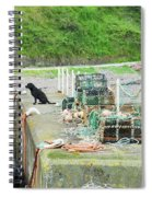 Burnmouth Harbour With Dog On Pier And Lobster Pots Spiral Notebook