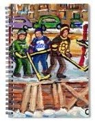 Calgary Flames Ottawa Sens Toronto Leafs Canadiens Oilers Boston Bruins Hockey Art Outdoor Rinks Spiral Notebook