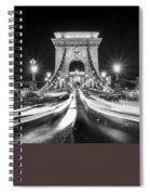 Chain Bridge At Night In Budapest Spiral Notebook