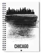 Chicago Skyline Brush Stroke Black Spiral Notebook