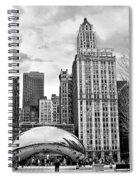 Chicago Skyline In Black And White Spiral Notebook