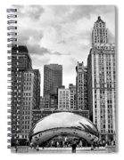 Chicago Skyline In Black And White Spiral Notebook