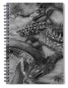 Chinese Dragons In Black And White Spiral Notebook