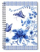 Chinoiserie Blue And White Pagoda With Stylized Flowers Butterflies And Chinese Chippendale Border Spiral Notebook