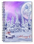 Christmas Card With Ice Skates Spiral Notebook