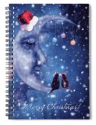Christmas Card With Smiling Moon And Cats Spiral Notebook