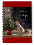 Christmas Squirrel Most Wonderful Time Of The Year Square Spiral Notebook