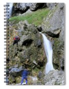 Climbers Making Their Way Up The Cliffs Of Gordale Scar Spiral Notebook