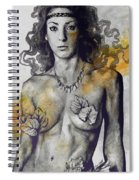 Colony Collapse Disorder - Gold - Nude Warrior Woman With Autumn Leaves Spiral Notebook