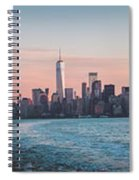 Colorful Sunrise Over The New York Skyline And The Statue Of Lib Spiral Notebook