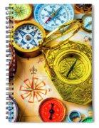 Compass And Compass Rose Spiral Notebook