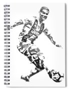 Cristiano Ronaldo Juventus Water Color Pixel Art 3 Spiral Notebook