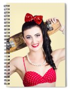 Cute Pinup Skater Girl In Punk Glam Fashion Spiral Notebook