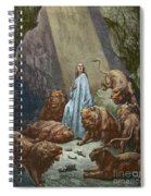 Daniel In The Den Of Lions  Engraving By Gustave Dore Spiral Notebook