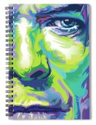 David Bowie Portrait In Aqua And Green Spiral Notebook
